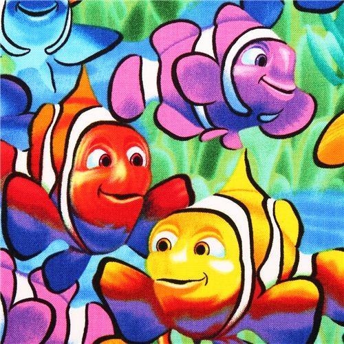 colourful exotic clown fish animal fabric USA - Fabric