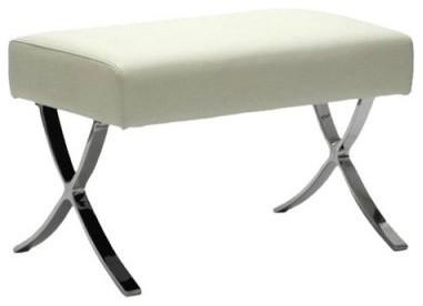 Euro Style Pietro Leather Ottoman White modern-footstools-and-ottomans