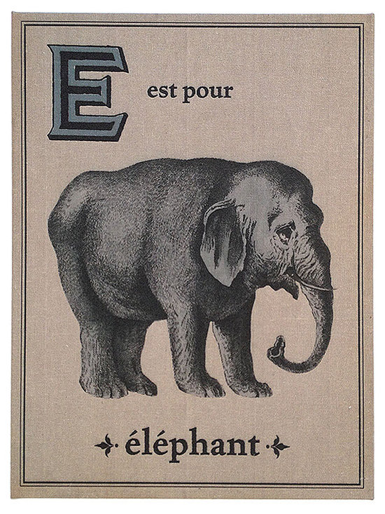 Floating Circus Elephant French Flash Card Art