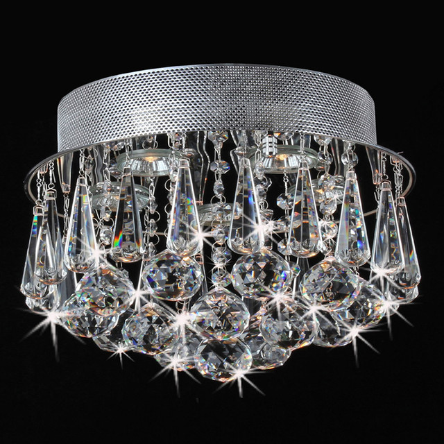 Chrome Flush Mount Drop Crystal Chandelier Contemporary