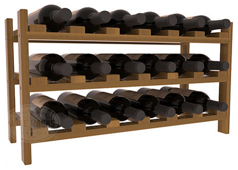 18 Bottle Stackable Wine Rack in Redwood with Oak Stain + Satin Finish traditional-wine-racks