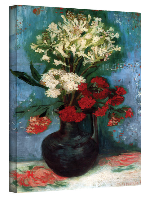 Vincent van Gogh 'Vase With Carnations and Other Flowers' Wrapped Canvas Art contemporary-artwork