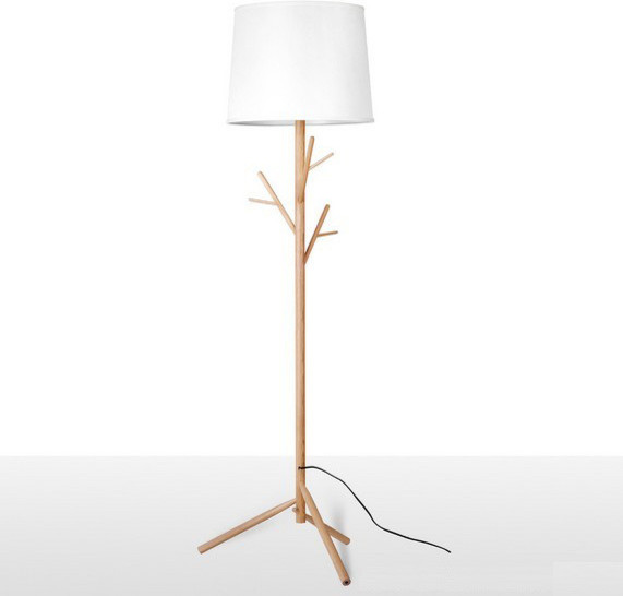 Modern Simple Wooden And Fabric Shade Floor Lamp