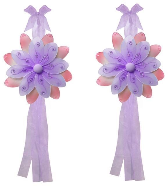 Flower Tie Backs Purple Pink Two-Tone Nylon Flowers Tieback Pair Set Decor window-treatment-accessories