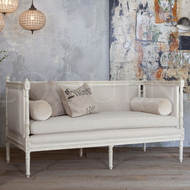 Eloquence Swedish Settee Antique White Finish