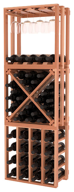 Lattice Stacking Cube - 3 Piece Set in Redwood with Satin Finish traditional-wine-racks