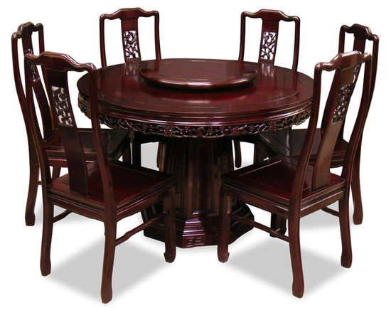 China Furniture and Arts - 48in Rosewood Flower & Birds Design Round Dining Table with 6 Chairs - This exquisite round dining table set is intricately carved in cherry blossom and bird motif, symbolizing happiness and tranquility in Chinese culture. Completely handmade in solid rosewood by artisans in China, using the traditional joinery technique. One removable lazy Susan is included for your convenience. Hand applied dark cherry finish.