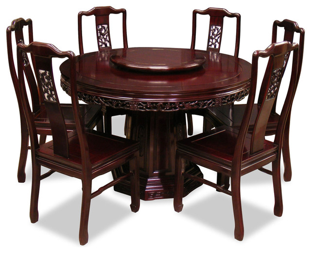 48in rosewood flower birds design round dining table for Asian style dining table and chairs