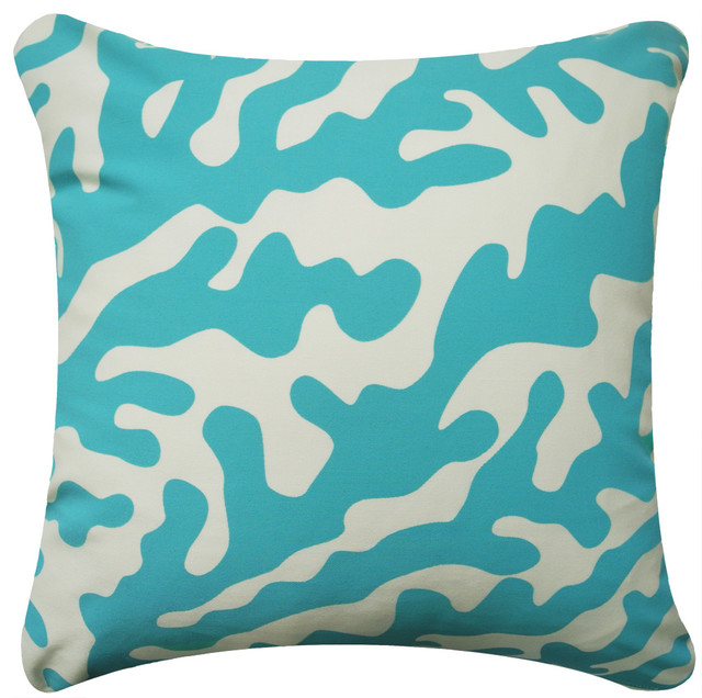 Aqua Coral Modern Eco Coastal Throw Pillows - beach style