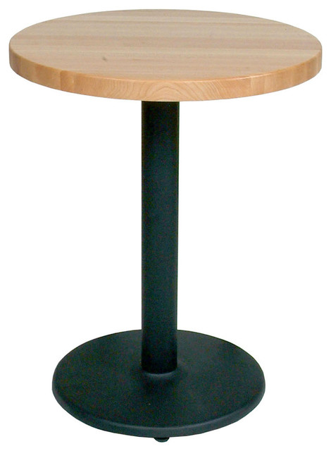 Round Maple Butcher Block Cafe Table, Black Pedestal/Disc Base - Contemporary - Indoor Pub And ...