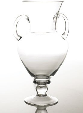 "Clear Glass Urn 7.5""x 18"" vases"