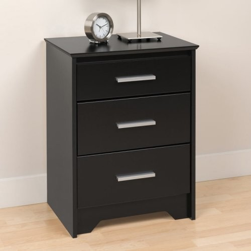 Coal harbor 3 drawer tall nightstand black modern How tall is a nightstand
