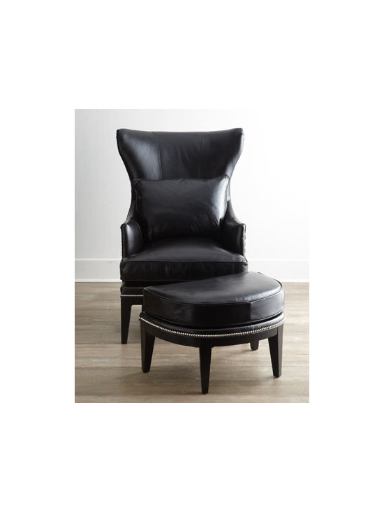Horchow - Coolidge Leather Ottoman - Updated styling on a classic frame, this handsome wing chair featuring a flared wing, flange-welt highlighted with nailhead trim, and sleek, tapered legs is perfectly complemented by a deminlune ottoman with nailhead trim. Subtle contrasting crocodile p...