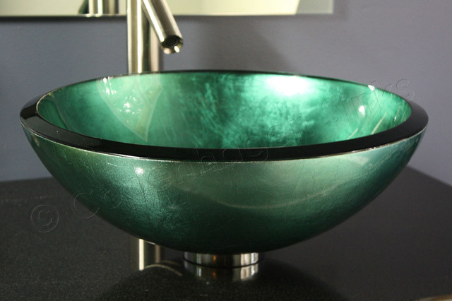 Glass Vessel Bowls : ... Hand Painted Glass Bathroom Vessel Bowl contemporary-bathroom-sinks