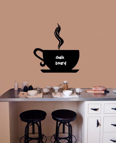 Wall vinyl chalkboard sticker decal cute coffee tea cup for Tea and coffee wall art