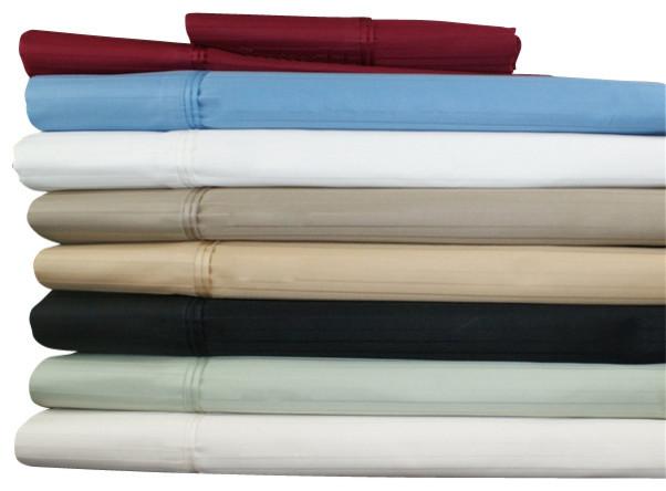 Egyptian Cotton 800 Thread Count Stripe Pillowcase Sets Standard Burgundy modern-shams