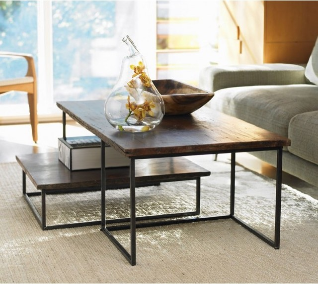 Vivaterra railroad tie coffee table duo industrial for Modern nesting coffee tables
