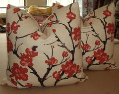 """Gorgeous Custom """"Flowering Chinese Quince"""" Down Pillows By Walsh Designs asian-decorative-pillows"""