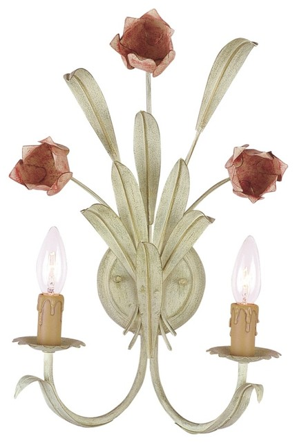 """Flower Candelabra 18"""" High Two Light Sconce traditional-wall-lighting"""