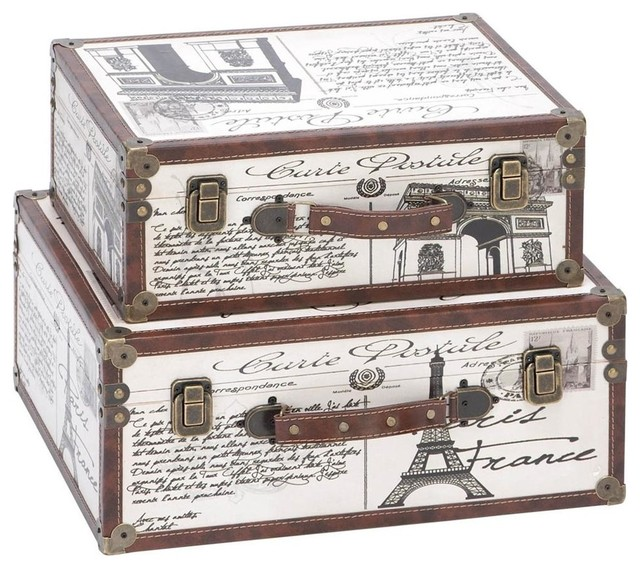 Paris decorative suitcase trunks set of 2 traditional - Decorative trunks and boxes ...