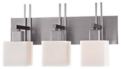 George Kovacs by Minka P5923-603 3-Light Bath Light - Matte Brushed Nickel - 24W modern-bathroom-lighting-and-vanity-lighting