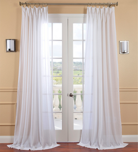 White Orchid Faux Linen Sheer Curtain Panel - Contemporary - Curtains - by Overstock.com