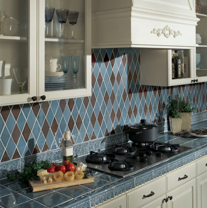 Brown and blue argyle kitchen backsplash contemporary new york by fiorano tile showrooms - April latest tile design for kitchen ...