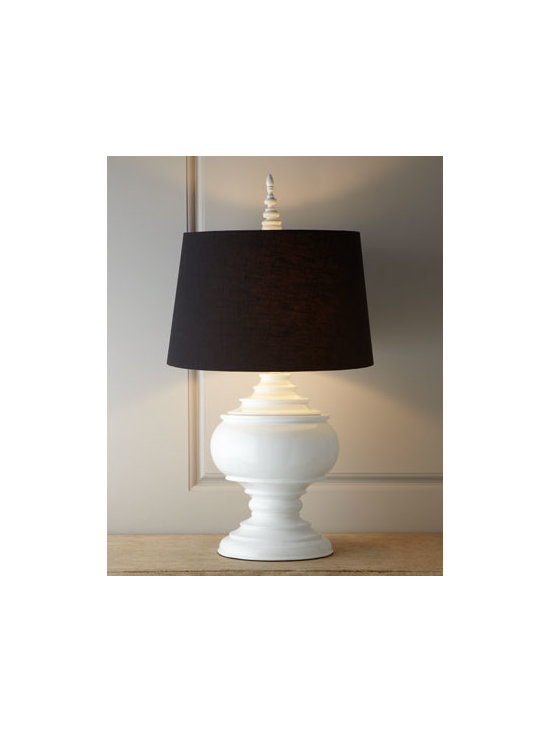 "Horchow - White ""Burma"" Lamp - A classic in black and white, this lamp features a shapely urn base, a finial that echoes the shape of the base, and a contrasting shade. Made of resin. Glossy finish. Linen shade. Uses one 100-watt bulb. 19""Dia. x 35""T. Imported."