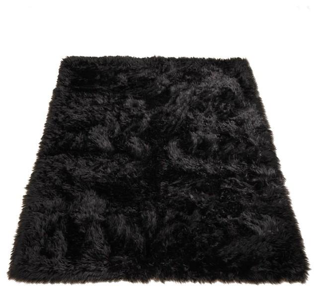 classic black bear faux fur rectangle rug 56 x79
