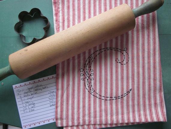 Custom Hand-Embroidered Monogram Tea/Dish/Handtowel by Chez Sucre Chez modern-dishtowels