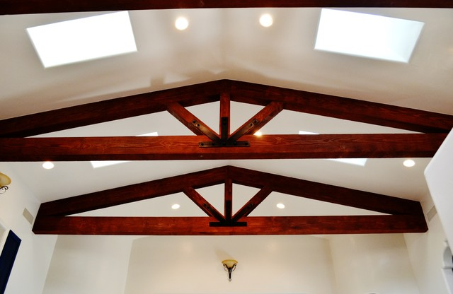 Vaulted ceiling with exposed beam trusses mediterranean for Vaulted ceiling trusses
