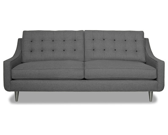 Apt2B.com - Cloverdale Sofa Grey - This cozy sofa is as comfortable as it is sophisticated. With an unexpected pop of color in the button tufting and a nice deep seat it's a perfect place to cuddle up with your date.