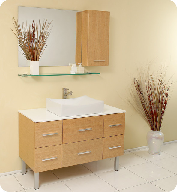 Sink Vanity Natural Wood FVN6123NW Modern Bathroom Vanities And