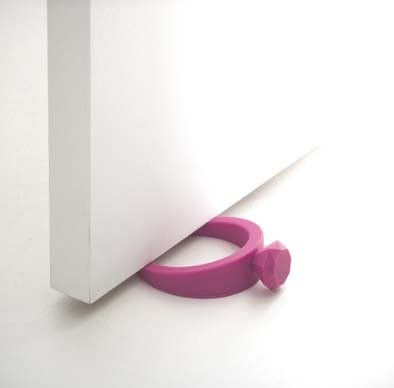 Stylish Pink Rubber Ring with Diamond - Door Stop, Modern Home Decor modern-door-stops