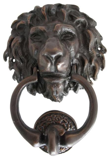 Small antique reproduction bronze lion head door knocker traditional door knockers by eron - Antique brass lion head door knocker ...