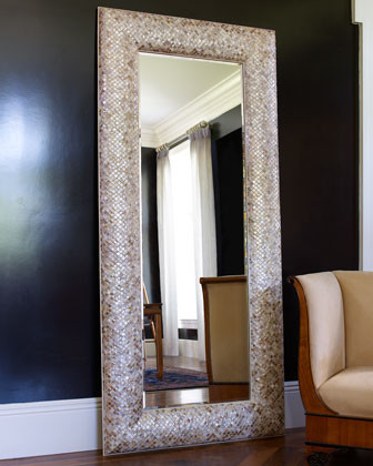 Mother Of Pearl Floor Mirror Traditional Mirrors By
