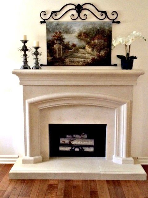 French Country Cast Stone Mantel Mediterranean