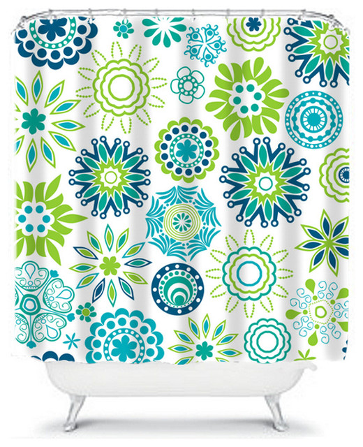 Flower shower curtain turquoise and lime contemporary - Green and turquoise curtains ...