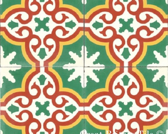 Cement Tile - Patterns - In stock cement tile - boccassio pattern - White, Gold, Vert Fonce, Rouge - 8x8