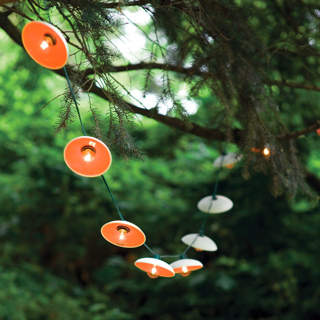 Disc String Lights Eclectic Outdoor Lighting by