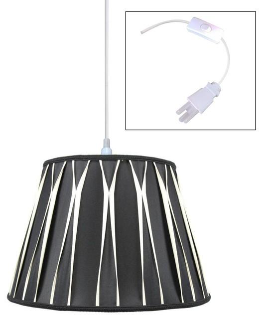 light plug in swag pendant lamp black beige contemporary. Black Bedroom Furniture Sets. Home Design Ideas