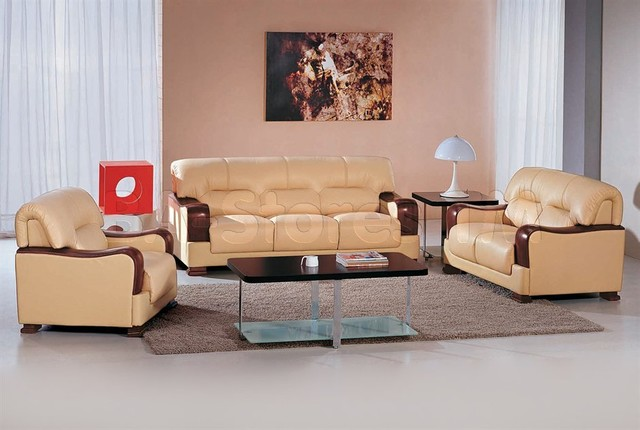 Beige Color Leather Sofa Set With Wooden Accents Modern
