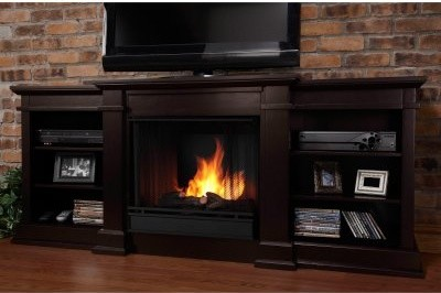 Real Flame Fresno Ventless Gel Fireplace - Dark Walnut modern-fireplaces
