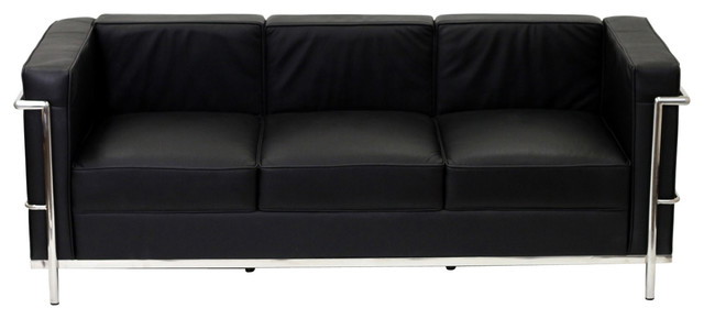 Charles Petite Leather Sofa in Black modern-sofas