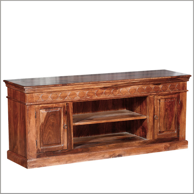 Country Cabin Rustic Indian Rosewood TV Stand Media Console - Rustic - Entertainment Centers And ...