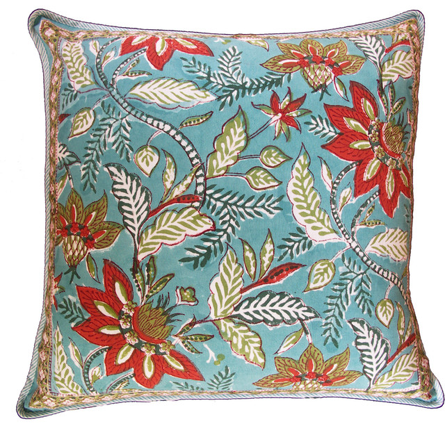 Madurai aqua pillow eclectic pillows