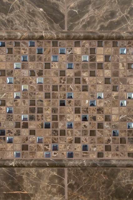 Emperador Cafe Marble And Glass Blend 1 tile