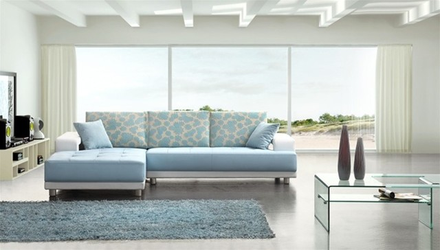 Modern Baby Blue Leather Sectional Sofa modern-sectional-sofas
