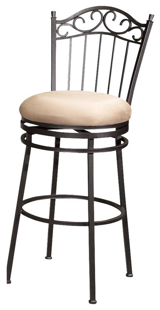 Swivel Bar Stool With Scrolled Metal Back And