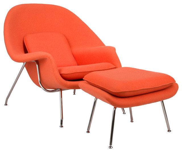 Nest lounge and ottoman set in bright orange modern for Chaise longue orange